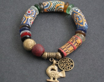 Chunky African Bracelet, Ghana Krobo Recycled Glass Beads, with Brass Focal Bead and Adinkra Sankofa and Tree of Life Charms, 7 inches