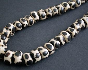10 African Bone Beads, Batiked Kenyan Zebra Design 20 -25 x 12 - 14 mm, Handmade