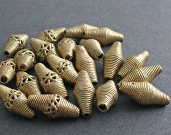 10 African Brass Beads Ashanti Ghana Lost Wax Bi-cones 22 mm for Jewelry / Jewellery and Crafts