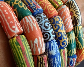 Mixed African Beads, Ghana Krobo Recycled Glass Ethnic Tubes, Handmade, Mixed Lot, 26-30 mm approx, for Jewelry and Crafts