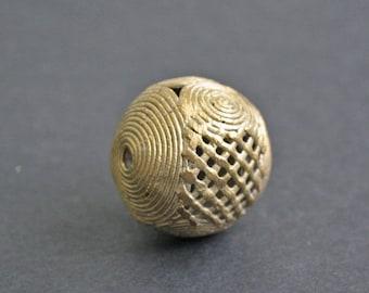 Large African Brass Bead, Ashanti Ghana Lost Wax, Globe, Jumbo Sized, 35 mm, Hand-made,