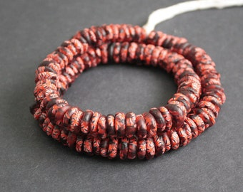 120 African Disc Beads,  Krobo Ghana Refashioned Disc Spacers, 10-12 mm, for Jewelry and crafts, Red/Black, 1 Full Strand