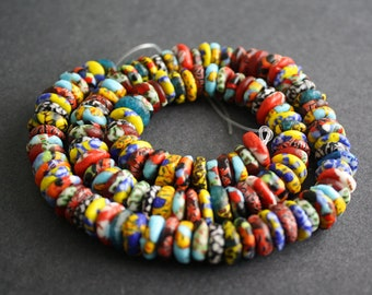 130 Mixed Refashioned Glass Disc Beads Hanmade in Ghana, 10-12 mm Wide, for Jewely and Crafts, 1 Full Strand, 0919GB02