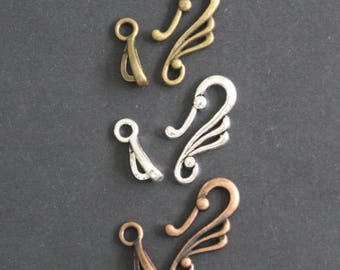 Tibetan Hook and Clasp Antique Brass, Silver Or Copper Colours 10 or 20, Really Stylish