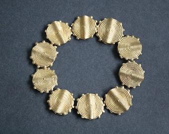 8 Large African Brass Beads, Ashanti Ghana Lost Wax,  Approx 25 mm, Flat Spirals, Just Stunning