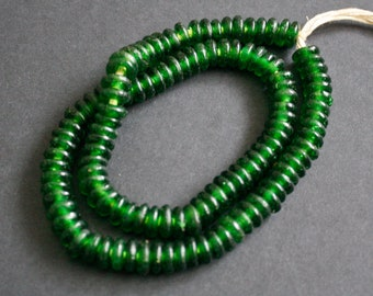 40 Green African Disc Beads, Ghana Krobo Recycled Glass Spacers, for Jewellery and Crafts, 10-11 mm, 40 pack