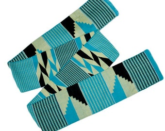 Turquoise Kente Cloth, Graduation Stole, Authentic African Ghana Fabric, Handwoven, Gift Idea, REDUCED TO CLEAR