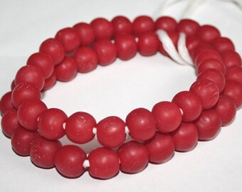 Red African Beads,Ghana Krobo Recycled Glass, 13-15 mm Round, for Jewelry/Jewellery and Other Crafts, Bright Red