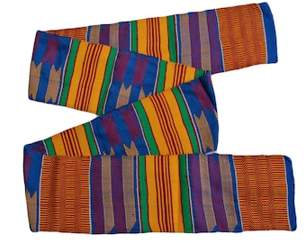 Blue Kente Fabric Strip from Ghana, Authentic Handwoven Strip, Cotton, for Sewing or Graduation Stole, Gift Idea