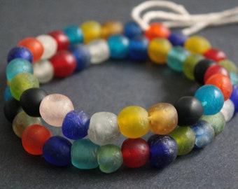 50 Round African Beads, Handmade Recycled Glass from Krobo in Ghana, 9-11 mm Multi-Colours, Full Strand
