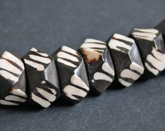 10 Multi-faceted African Bone Beads Kenyan, 25 mm x 12 mm Approx, Handmade Ethnic Batiked Beads