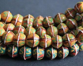 20 African King Beads, Bi-cones, Krobo Ghana Recycled Glass, 13-15 mm Handmade, Gold/Green 1 full strand, for Beading for Crafts
