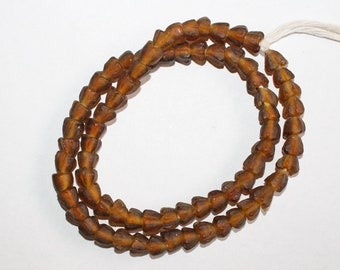 30 African Beads, Ghana Recycled Glass, Handmade  Krobo Ethnic beads for Jewelry and Crafts , Golden Brown,  7-8mm approx