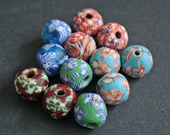 Mixed Lot African Beads, Ghana Refashioned Glass, 15 mm, Multi-Colours, Various Designs, 5 Options