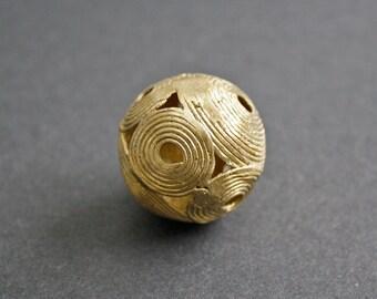 1 Large African Brass Bead, Ashanti Ghana Lost Wax, Globe, Round, 35 mm, Handmade