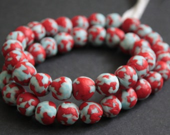 Pack of 15 African Beads, Ethnic Ghana Krobo Refashioned Glass, for Jewelry and Crafts 14-15 mm,  Handmade, Red/Pale Blue/White