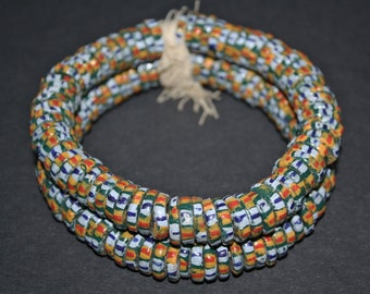 40 African Disc Beads, Ghana Recycled Glass Krobo Spacers, 3 x 14 mm approx, for Jewelry and Crafts, Handmade, Teal