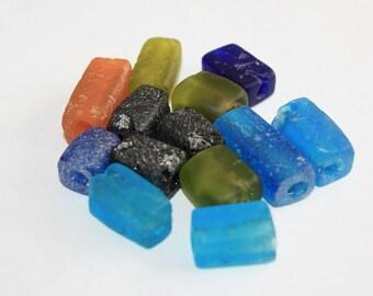 African Beads, Ghana Krobo Recycled Glass, Handmade, Cuboid 13-24mm, Mixed Lot/Orange