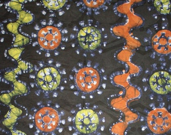 African Batik Fabric, Pre-shrunk Hand-dyed Cotton, 1 Yard, for Sewing, Crafts and Quilting.  Lovely Feel