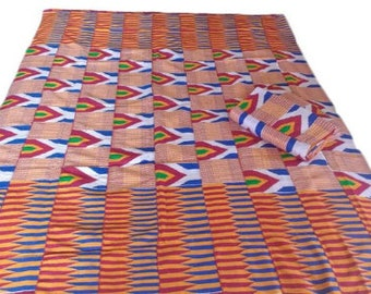 Ghana Kente Cloth Fabric, Wedding and Occasion Wear, Cotton, Red White Blue, 2 Size Options