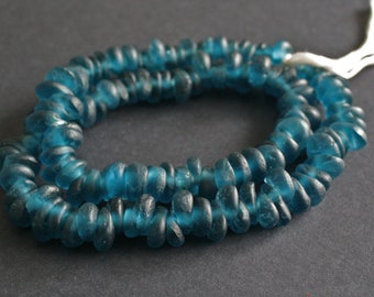 30 African Beads, Ghana Krobo Recycled Glass Teardrop-Shaped,  Translucent Petrol Blue 16-18 mm, for Jewelry and Crafts