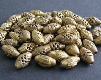 African Brass Beads, Handmade Ethinc Ghana Ashanti Craft, 19-20mm mm Bicones, for Jewelry and crafts