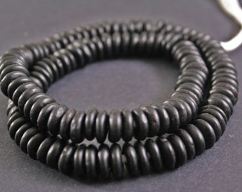 40 Black African Disc Beads, Ghana Krobo Recycled Glass Spacers,  Approx 10-12 mm, for Jewelry and Crafts,