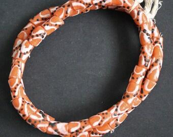 African Beads, Krobo Ghana Recycled Glass, Hand-made, Pleasant Orange, 11-13 mm, One Strand, 21 Beads