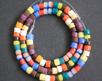 African Beads, Ghana Krobo Recycled Glass Mixed Lot of Tube Spacers 5-7 mm, Handmade Ethnic Beads, 100 on Strand/50 pack