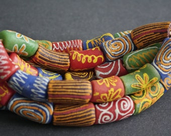 Mixed African Beads, Ghana Krobo Recycled Glass Ethnic Tubes, Handmade Colourful Tubes, Full Strand, 25-27 mm approx, for Jewelry and Crafts