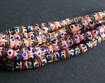 19 small African Beads, Krobo Ghana Recycled Glass, Hand-made Tubes, 11-13 mm, One Strand, 3 Colour Options Black/Red/Peach