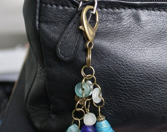 Bag Charm or Key Ring. African, Recycled Glass Beads, Star Charm. Turquoise/TealCobalt blue, Beautiful, Great Small Gift