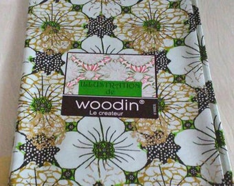 African Fabric by the Yard, Woodin Brand, Ghanaian Cotton Print, Palest Green/Green/Gold/Black, 6 yards