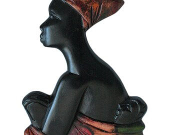 African Wall Plaque, Mum and Twin Babies, Handmade Solid Wood, 35 cm High