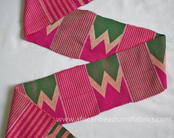 Kente Fabric Strip, Authentic Ghana Handwoven Fabric, Graduation Stole, Gift for Her, 60 x 4.5 inches, Sewing/Crafts