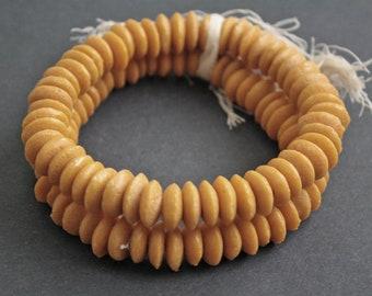30 African Beads, Ghana Krobo Recycled Glass , 13-14mm Donut, Bright Mustard,  Handmade, 30-Pack