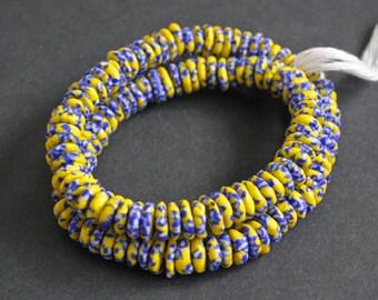 40 African Disc/doughnut Beads, Refashioned Glass 10-12 mm Spacers , Handmade in Ghana's Krobo, Lemon/Blue/White