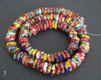 130 Mixed Refashioned Glass Disc Beads Hanmade in Ghana, 10-12 mm Wide, for Jewely and Crafts, 1 Full Strand