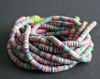 8mm  African Vinyl Beads, Vulcanite Heishi Discs, 33-inch Strand, Multicoloured/Pink Mix