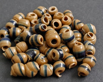15 Brown African Beads, Handmade Recycled Plastic, Approx 12-14 mm, for Jewelry and Crafts