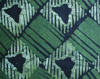 African Batik Fabric, Ghana Cotton, preshrunk and hand-dyed, for Sewing, Quilting  and Crafts, 2 Colour Options. Green/Mustard 2+ yards