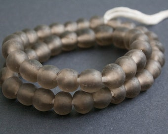 50 African Beads Ethnic Ghana Krobo Recycled Glass 11-12 mm Round, for Jewelry and Crafts