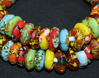 20 Mixed Designs African Disc Beads, Refashioned Glass 13-14 mm Chunky Spacers, Handmade in Ghana's Krobo