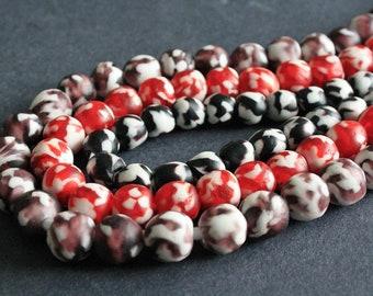 African Beads, Ghana Krobo Recycled Glass, Round, 10mm/13-14mm- Round, Black/Red/Grape/Orange