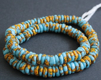 124  Turquoise African Disc Beads, Refashioned Glass Spacers, Handmade in Ghana's Krobo, 10-12 mm, 1 Full Strand for Jewelry and Crafts