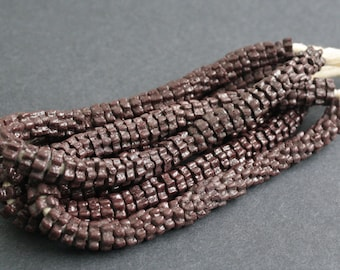 Full Strand African Beads, Krobo Recycled Glass Daisy Spacers,Rich Chocolate brown,approx 9  x 3 mm, 65-68 Beads