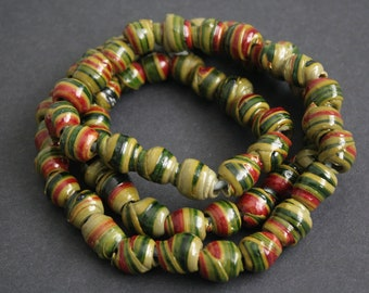 60 African Beads Recycled Plastic, Spiral Round, Novelty, Bright Green/ Red Mix 12-14 mm