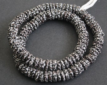 40 African Disc Beads, Ghana Refashioned Glass Spacers, Black and white, 10-11 mm,  Handmade for Jewellery and Crafts