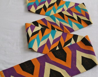 Strikiing Kente Cloth Strip, Authentic African Ghana Fabric, Handwoven, Graduation Stole, Gift Idea. Purple Mix, REDUCED TO CLEAR