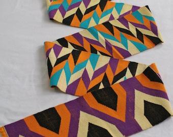 Strikiing Kente Cloth Strip, Authentic African Ghana Fabric, Handwoven, Graduation Stole, Gift Idea. Purple Mix